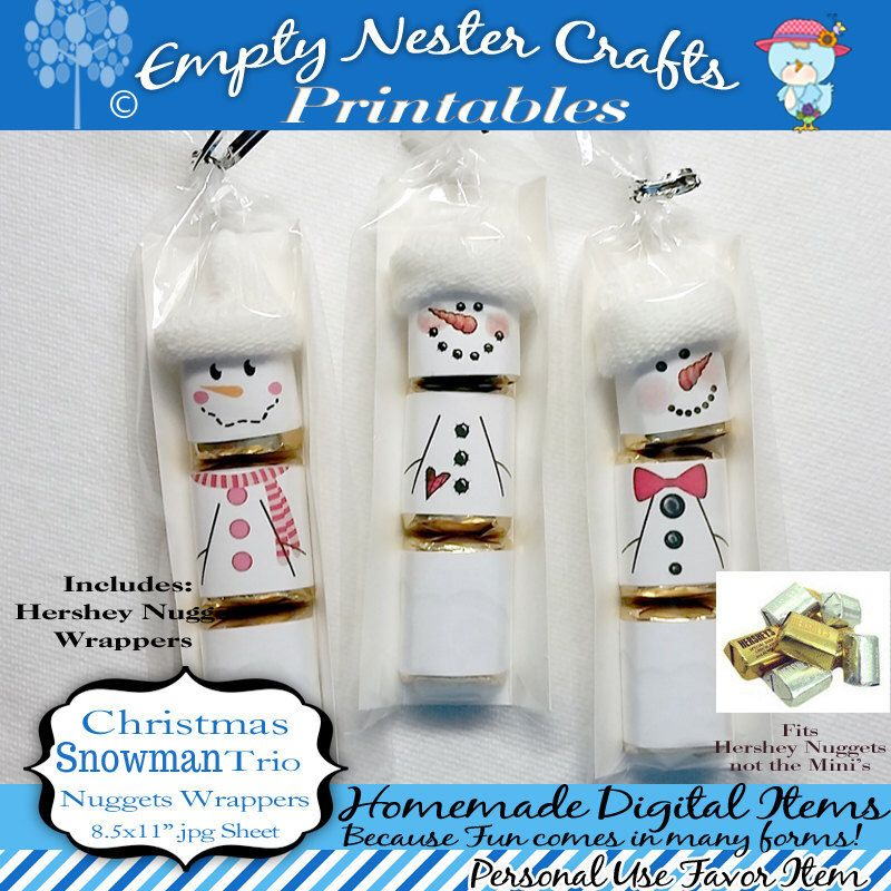 Hershey Nuggets Candy Bar Wrapper, Christmas - Snowman trio, for the ...