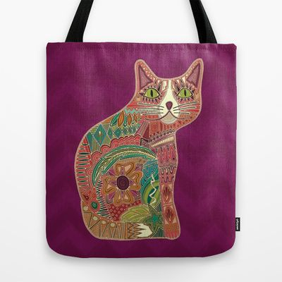 sugar cat Tote Bag #cat #bag #sharonturner #society6