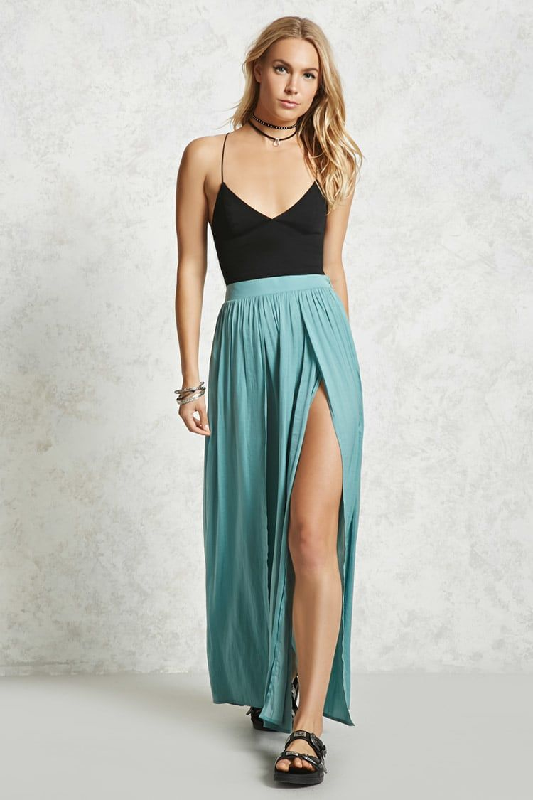 Forever contemporary this maxi skirt is crafted from a satin
