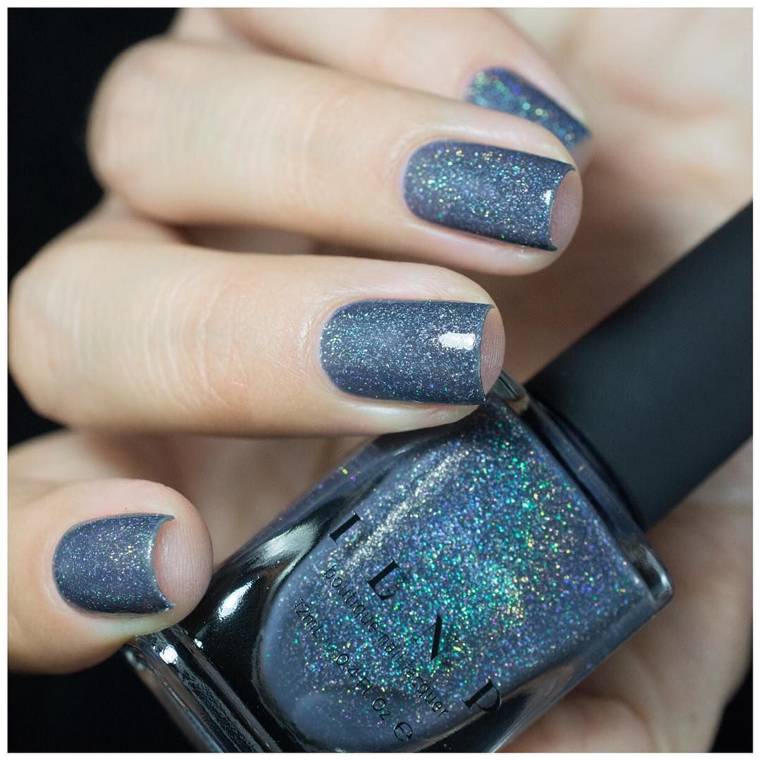 industrial park neutral denim blue holographic sheer jelly nail polish by ilnp in 2020 blue gel nails beautiful nail designs nail colors pinterest