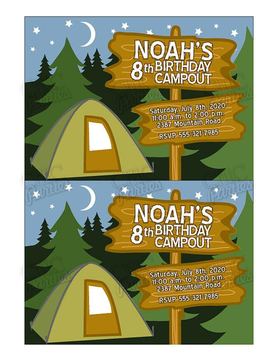 Printable Camping Party Invitation Chic Parties Etsy Party