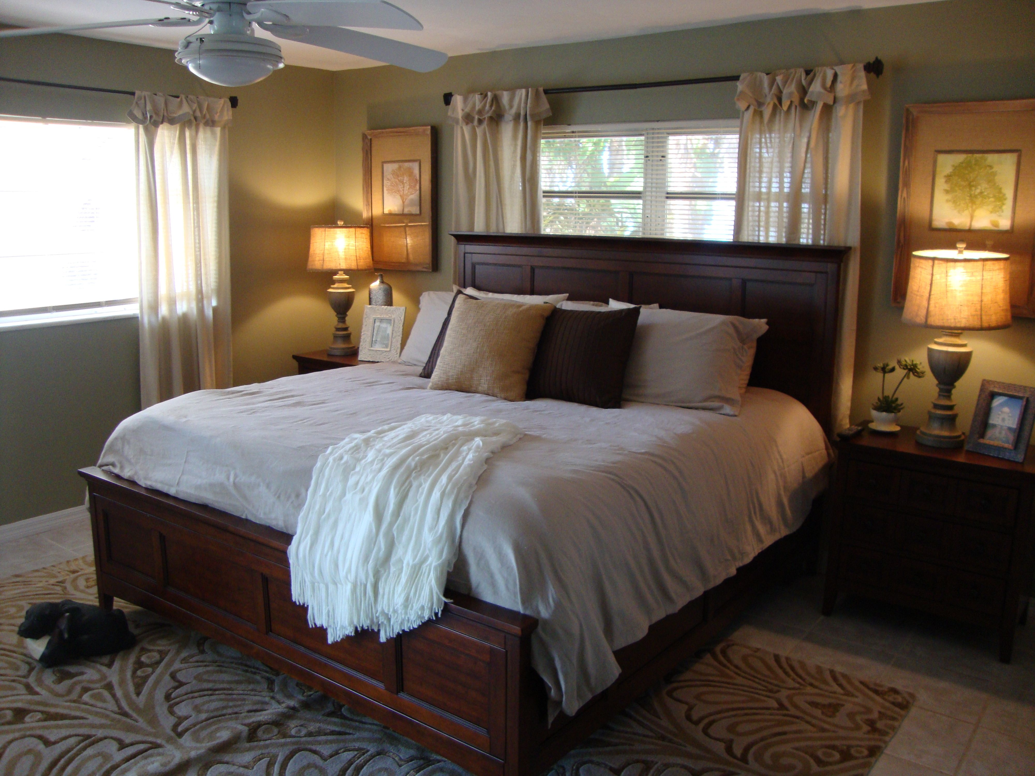 Bedroom ideas window behind bed  kinda like the bed in front of the window  master  pinterest