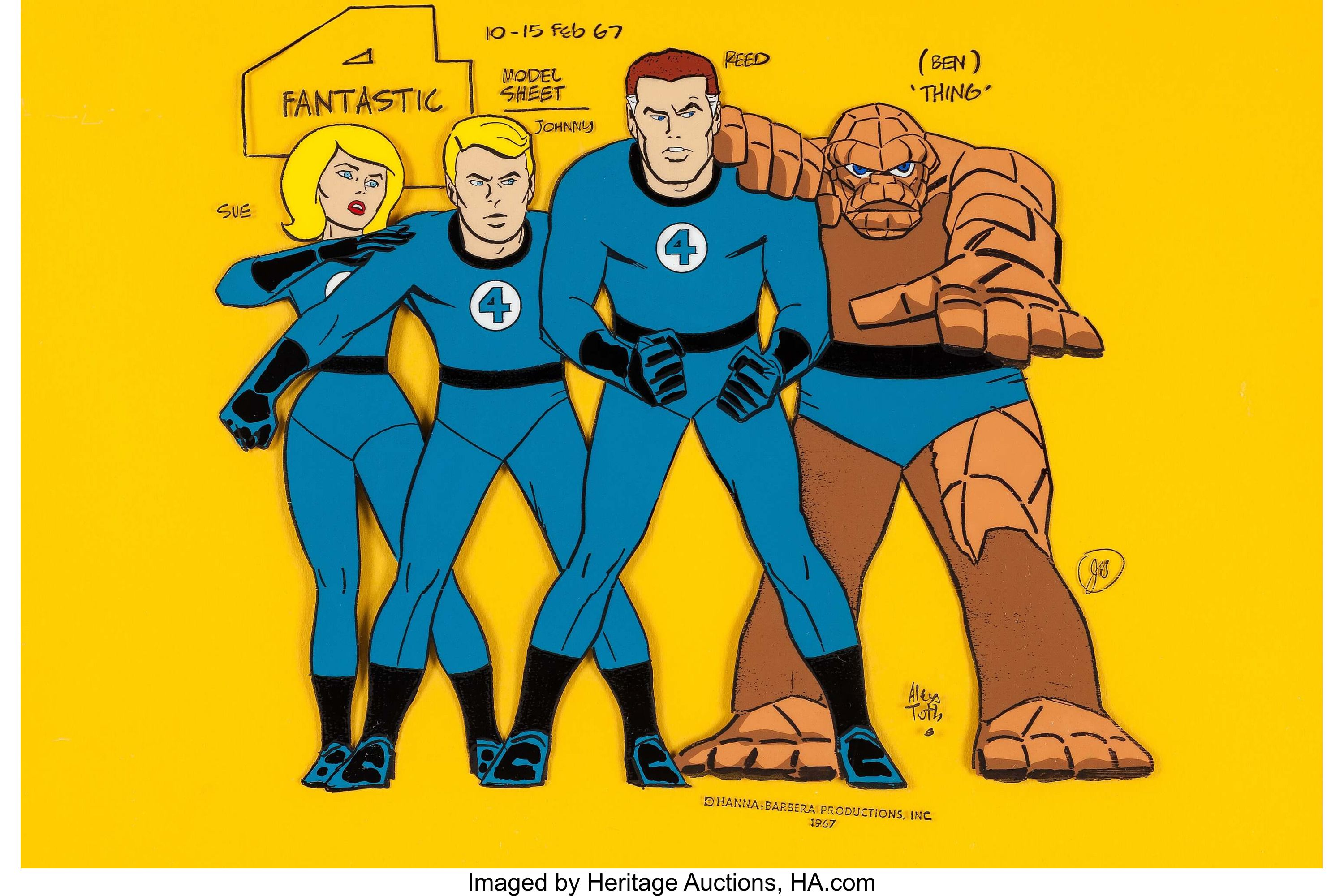Fantastic Four Original Hand Painted Color Model Lot 11211 Heritage Auctions Fantastic Four Marvel Cartoons Cartoon Crazy