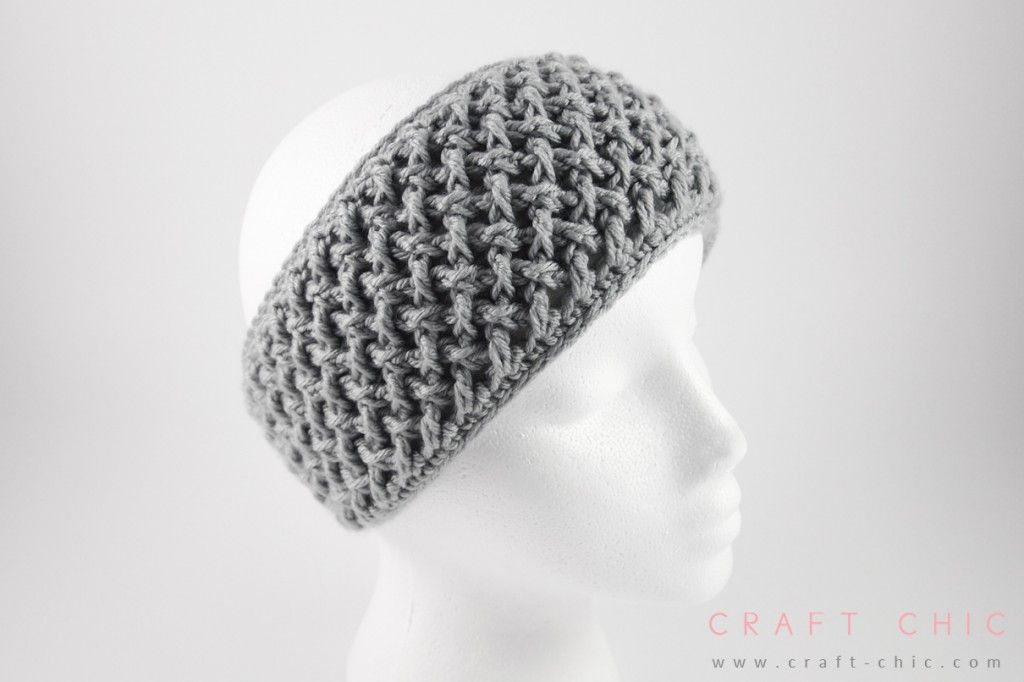 Free Crochet Pattern Criss Cross Head Wrap Faux Button