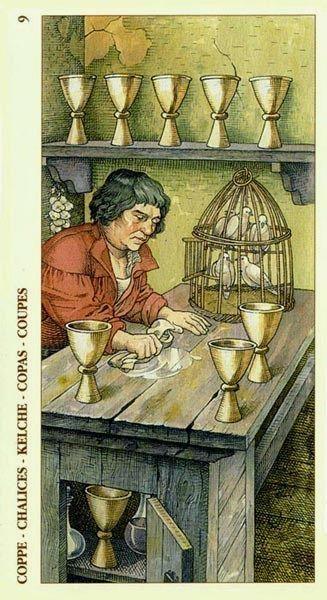 Nine of Cups - Albrecht Dürer Tarot (2002) by Giacinto Gaudenzi