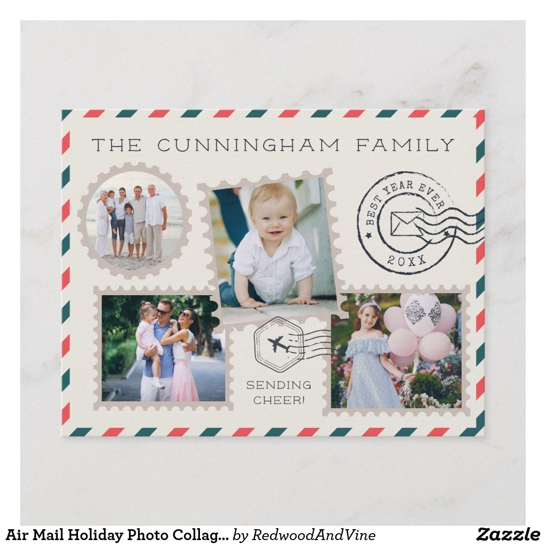 Air Mail Holiday Photo Collage Postcard Zazzle Com