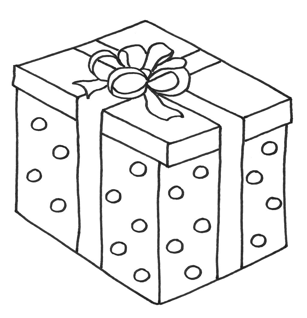 Christmas Presents With Box Coloring Page Free Coloring Sheets