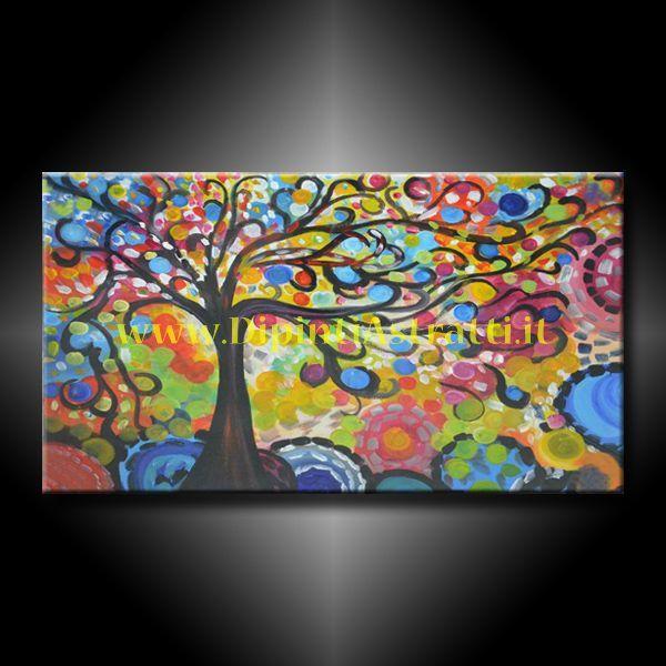 Dipinto a mano su tela con albero della vita colorato for Stile moderno della prateria