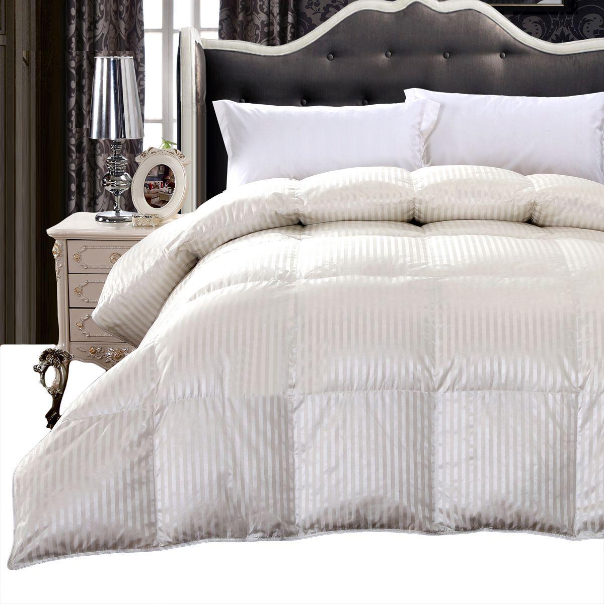 Silk Goose Down Filled Comforter Warm Baffle Box Winter Goose Fill Down Comforter Comforters Duvet Bedding