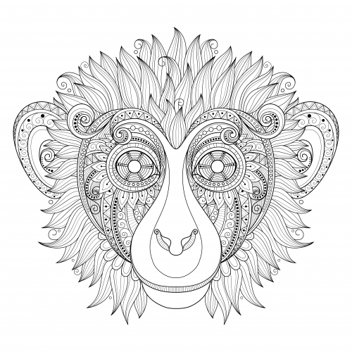 Ornate Monkey Head Coloring Page Kidspressmagazine Com Animal Doodles Coloring Pages Animal Coloring Pages