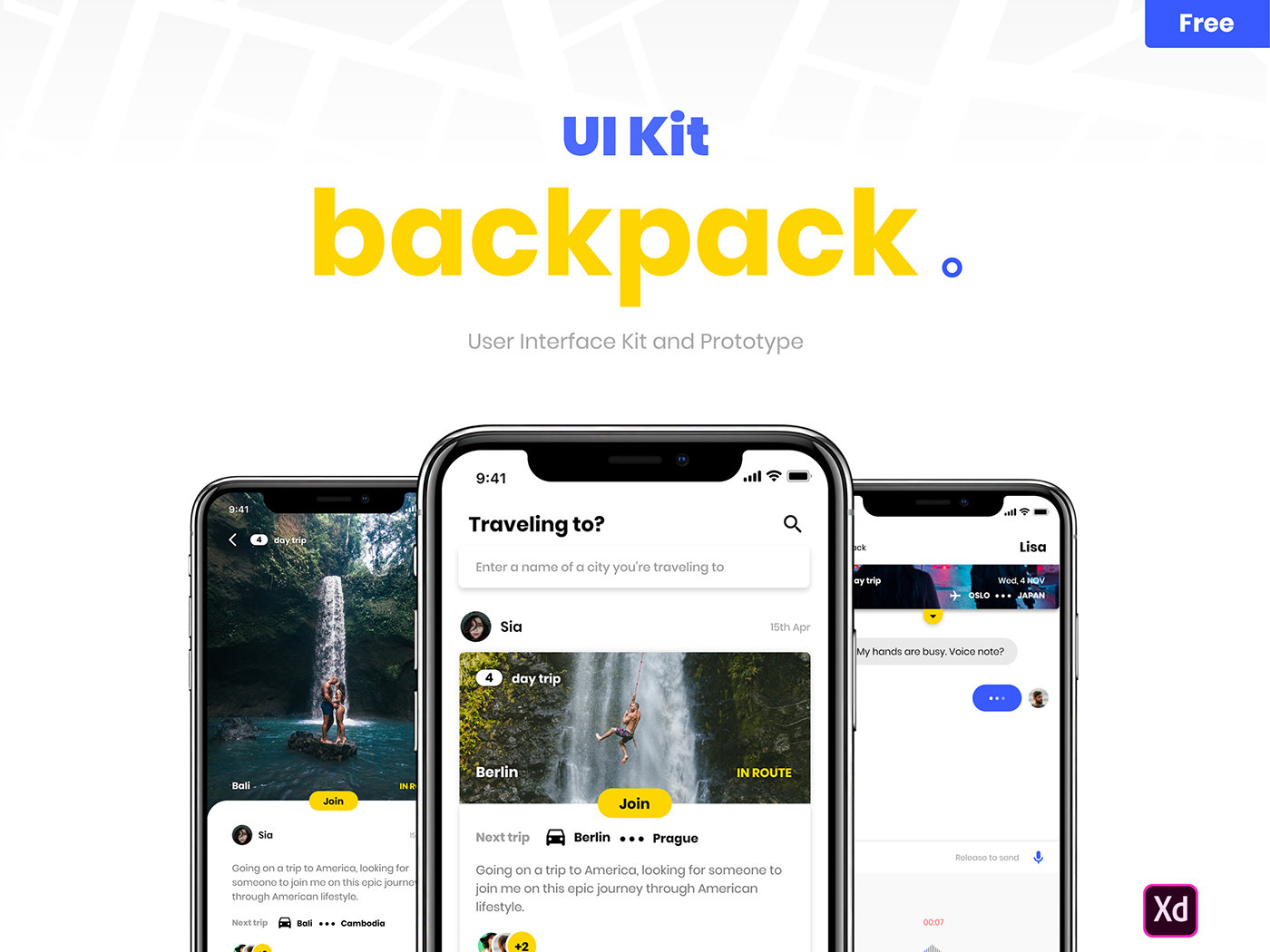 Backpack - UI Kit Free for Adobe XD | ui | Ui kit, Adobe xd, Ios ui