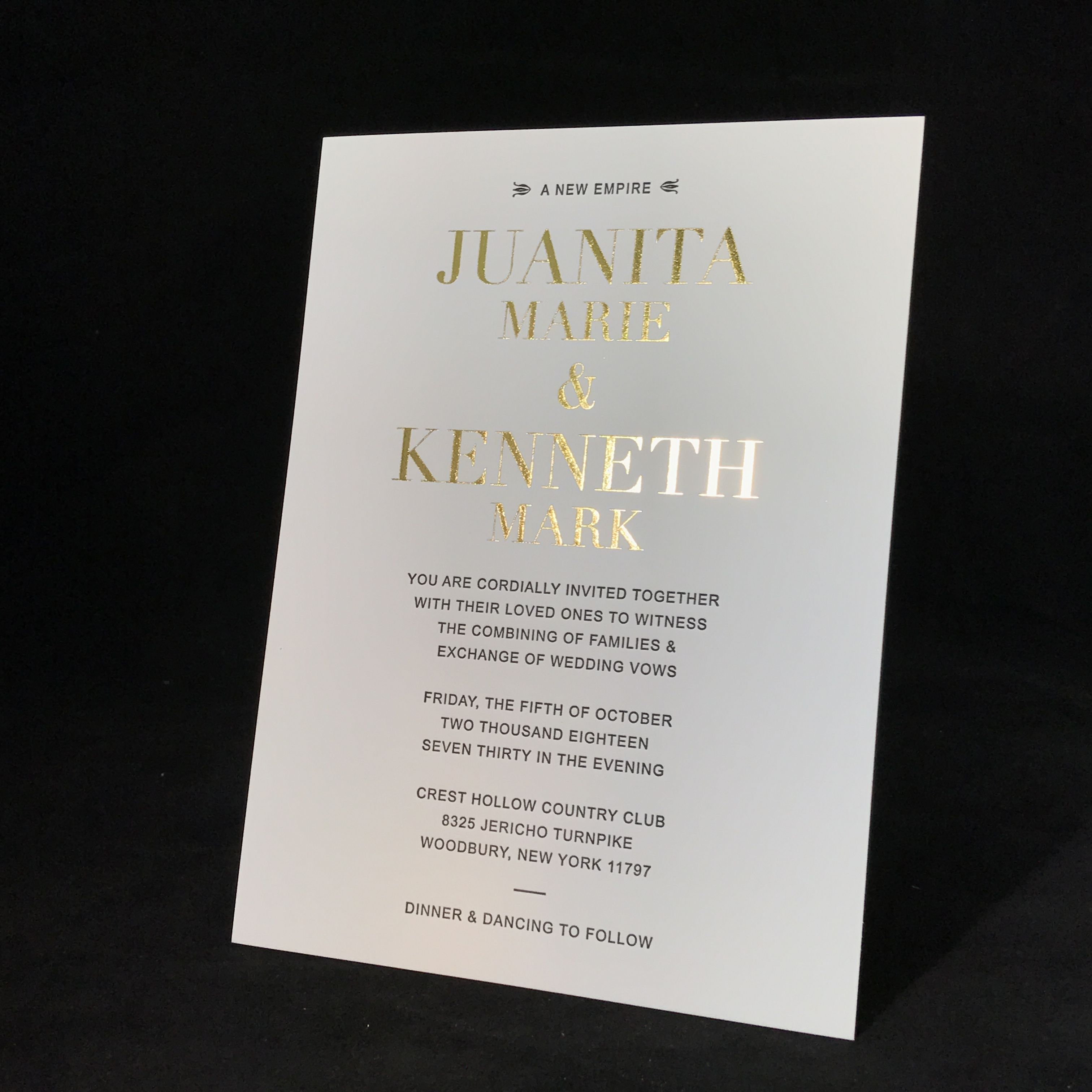 Foil stamping wedding invitations in NYC 718-749-3520   Wedding ...