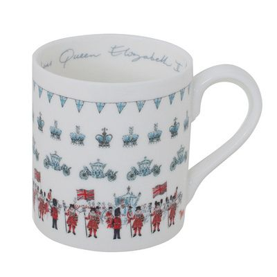 Remember a very special Coronation year with this delicate fine bone china mug featuring Sophie's illustrations of Royal crowns, bunting, carriages and a grand procession.