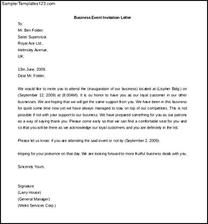Formal Invitation Letter For School