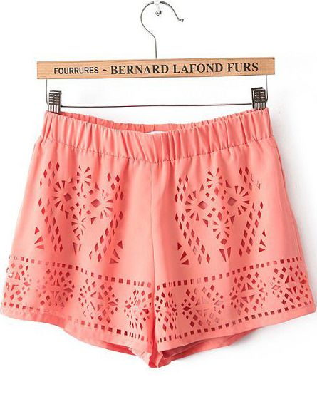 Orange Elastic Waist Hollow Chiffon Shorts