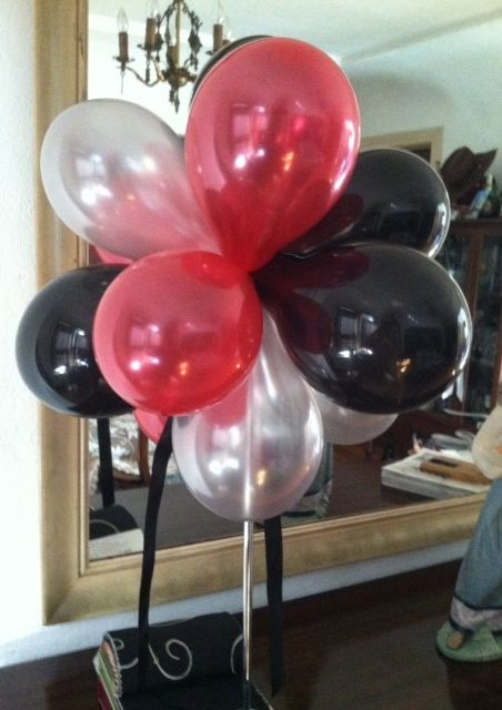 Red Black Silver Balloon Centerpiece Black And White Balloons
