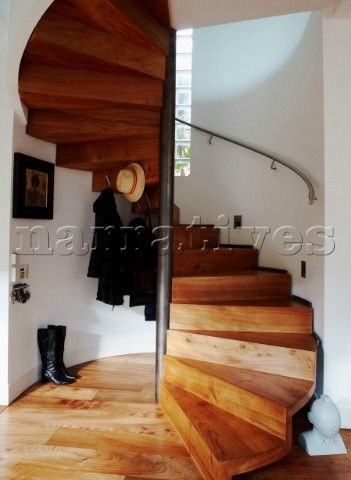 04 Wooden Spiral Staircase Of New Build With Under Stairs