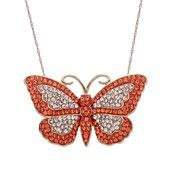 Kaleidoscope 18k Rose Gold over Sterling Silver Necklace, Pink and Orange Swarovski Crystal Butterfly Pendant (2-3/4 ct. t.w.)
