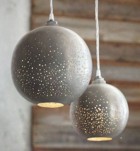 Roost Constellation Pendant Lamp  ** Quick Ship Small Lamp ** Glamorous lamps reflecting pinpoints of lights out of grey raw iron globes. Reminding one of a clear summer night sky. Sheer magic in a low lit room. Mood Lighting