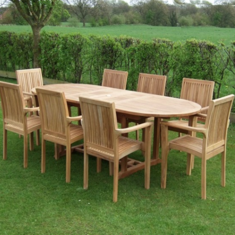 Vermont Extendable Garden Table And Chair Set: Hampstead 8 Stacking Teak Chairs & Teak Extendable Table