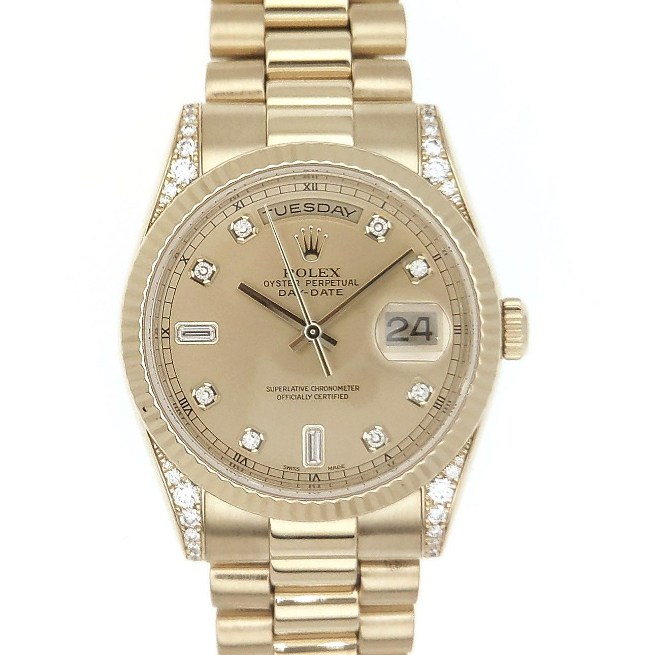 277c12c668a Rolex DayDate President Yellow Factory Gold Champagne Diamond Dial & Lugs  118238