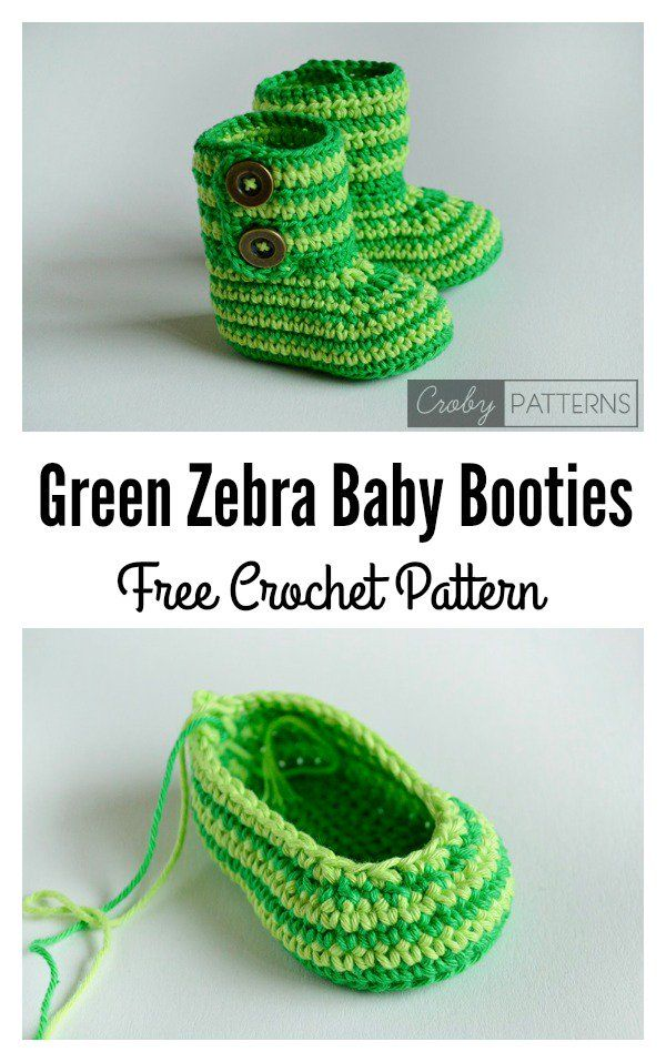 Green Zebra Baby Booties Free Crochet Pattern | Prendas de punto de ...