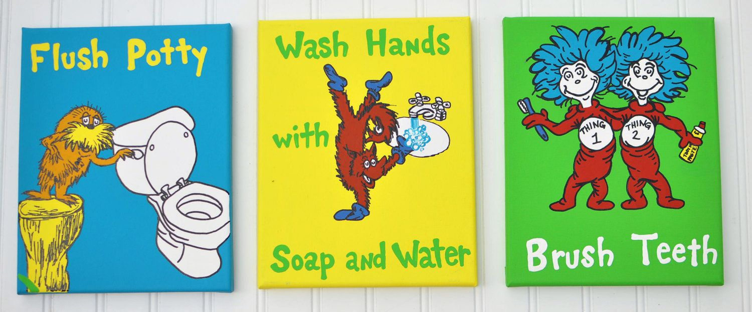 Dr Seuss Inspired Bathroom Set With Cute By Fantabbulousdesigns