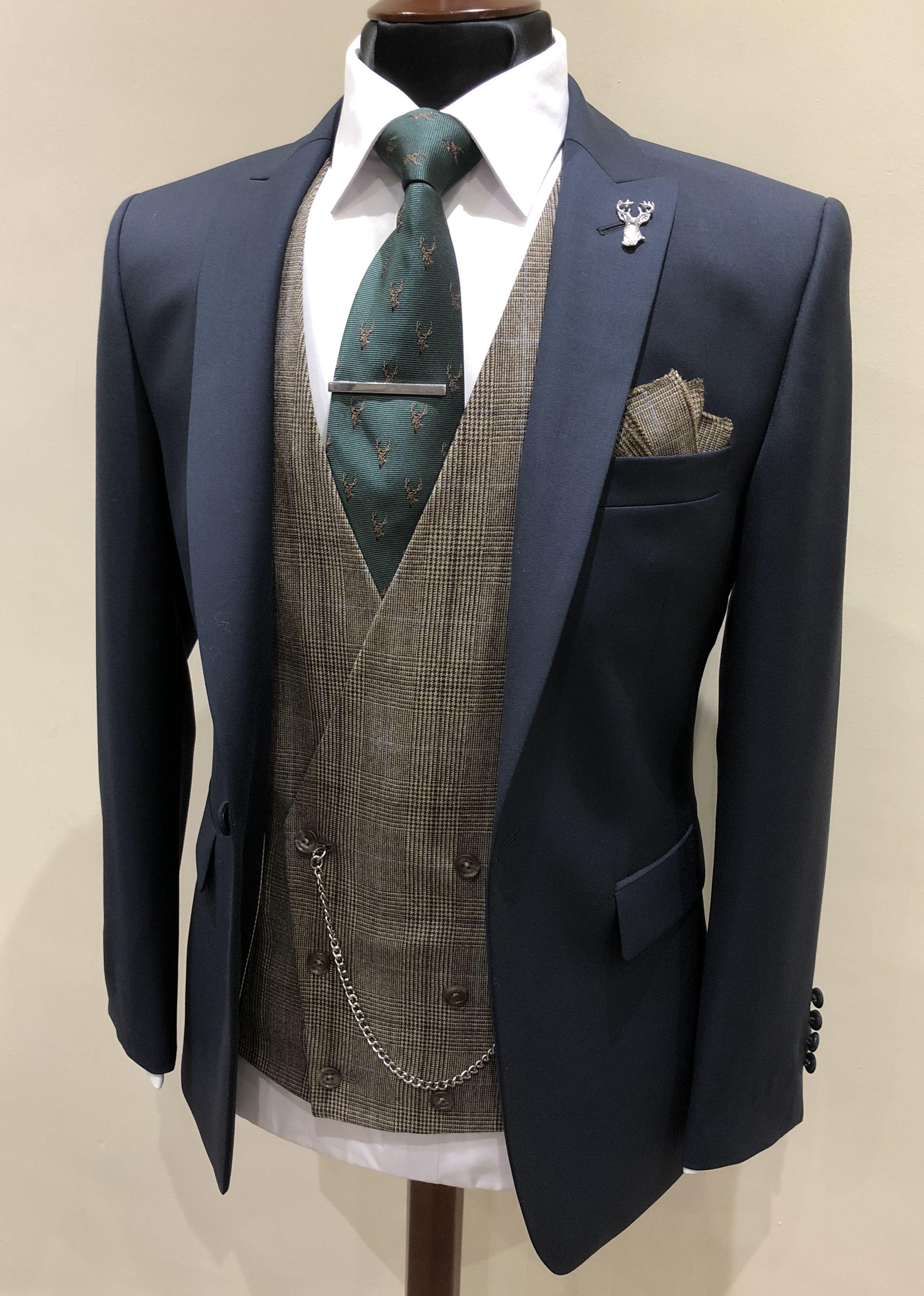Navy Suit Brown Tweed Waistcoat Best Wedding Suits Wedding Suit