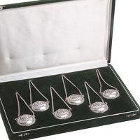 6 Zilveren Flessenlabels