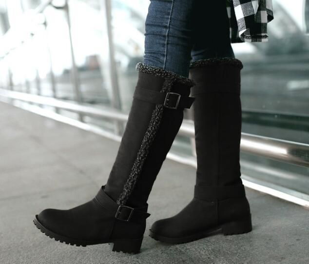 f53ebc9ed368f 2018 Fashion Women s Knee High Boots Warm snow Boots Ladies winter Buckle  Shoes