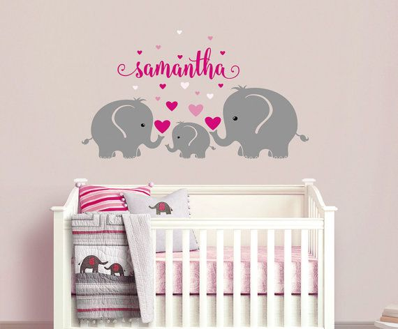 63 Elephant Themed Personalized Vinyl Wall Decals And Art Prints For Nurseries Or Kids Room Ideas Vinyl Wall Decals Nursery Wall Decals