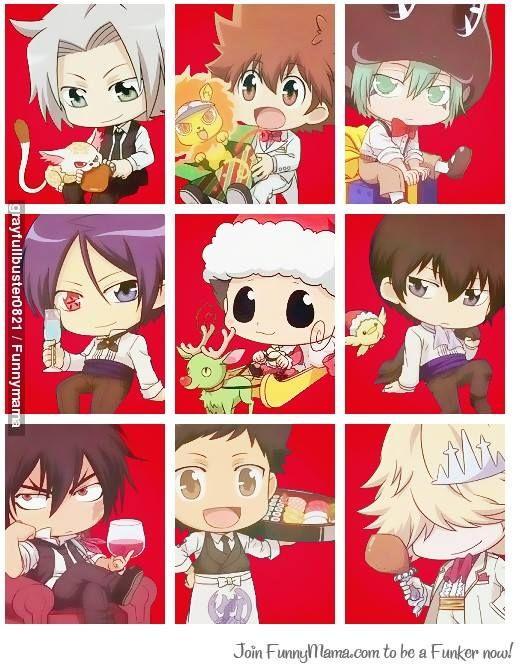 Hayato Gokudera, Tsunayoshi Sawada, Flan, Mukuro Rokudo, Reborn, Kyoya Hibari, Xanxus, Takeshi Yamamoto, and Belphegor! Merry Christmas! (I think)