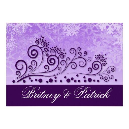 Purple Winter Snowflake Wedding Invitations