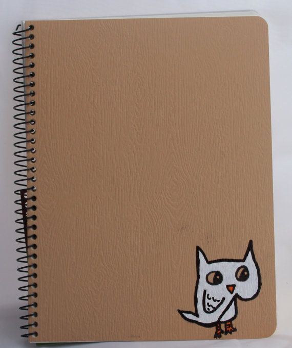 Recycled Notebook with Painted  Snow Owl on Cover by kitncatherine, $9.00