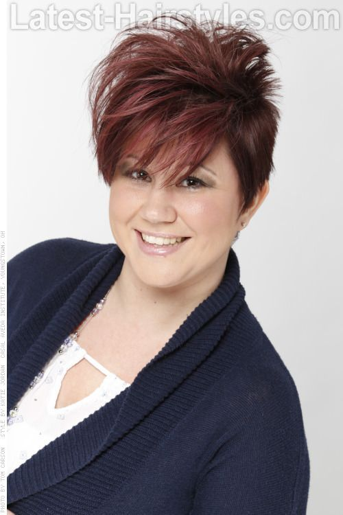 Asymmetric Red Short Haircut With Red Highlights Light To Medium