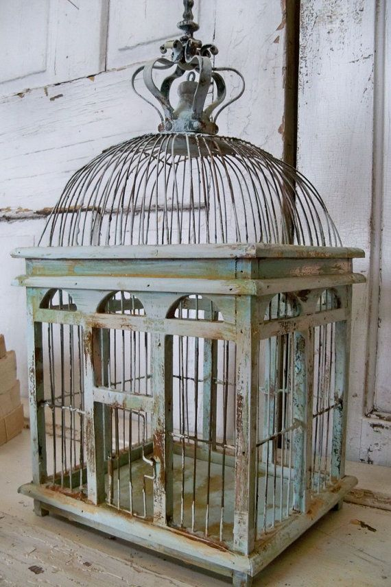 Blue Sea Foam Bird Cage Distressed Rusty Rustic Metal Wood With Romantic Crown Home Decor Anita Spero