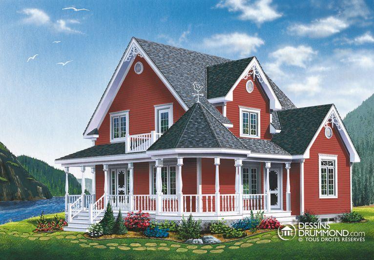 House plan maison 1 etage et demi split level w3501 m a for Maison eplans