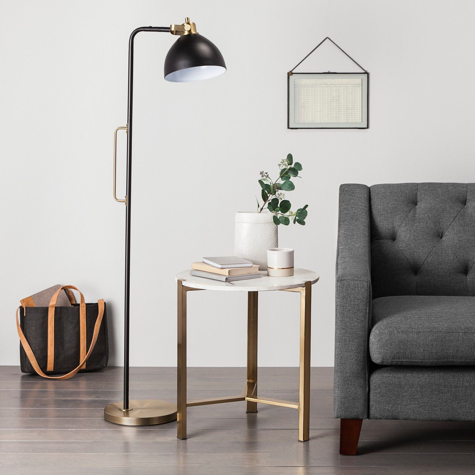 Illuminate Your Space In Modern Style With This Black And Brass Handle Floor Lamp From Hearth