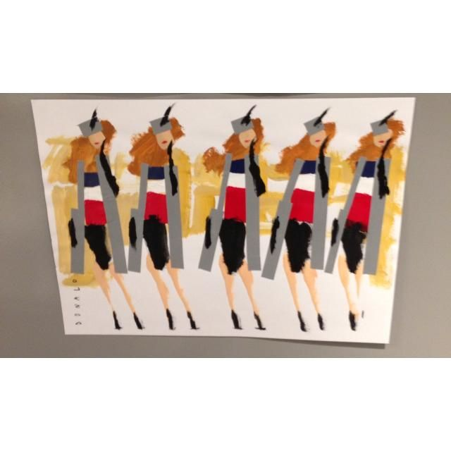 #paris Donald Robertson $2500.00 acrylic paint on paper  24 inches w x 18 inches h  year 2014  unframed original ships in July, 2014   note: size approximate  *This item is Final Sale/No Returns