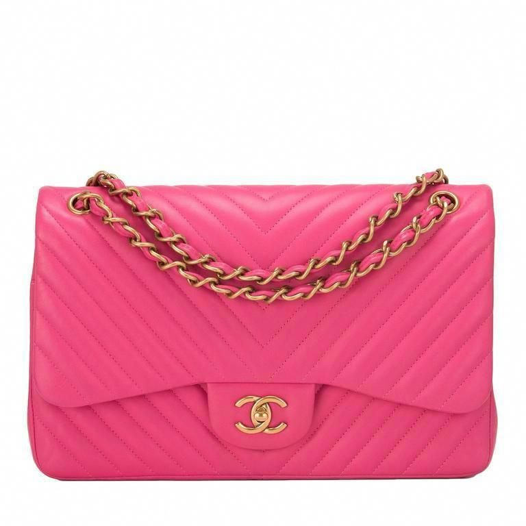 0b97dc389a90 Chanel Pink Chevron Jumbo Classic Double Flap Bag  Chanelhandbags   Pradahandbags