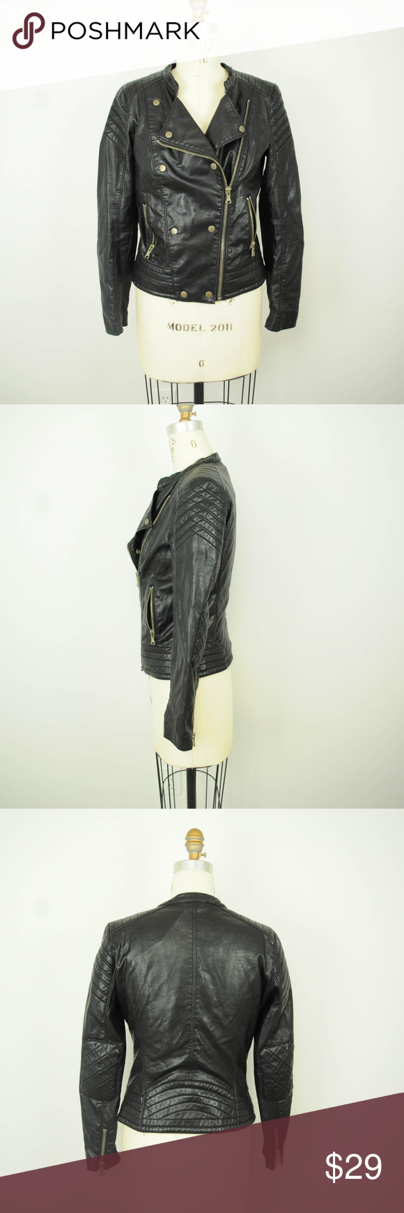 Zara Faux Leather Jacket M Motorcycle Quilted Zara Womens