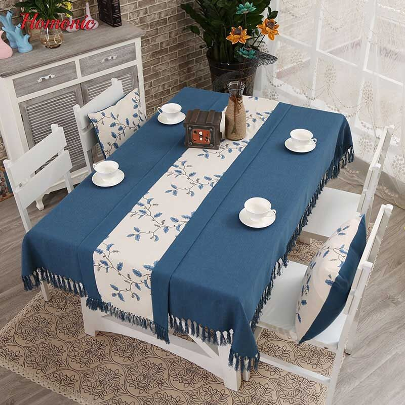 Online Shop Tassel Linen Tablecloth High Quality Japan Style Embroidery Cotton Linen Dinner Table Table Cloth Dining Table Cloth Dining Room Decor Traditional