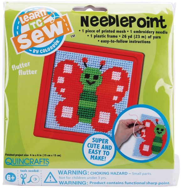 Butterfly Learn To Sew Needlepoint Kit - Red Frame