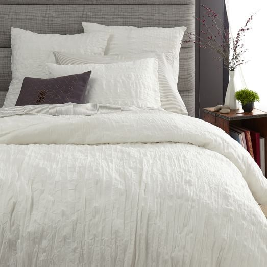 crinkle duvet cover shams stone white with soft grey stripped sheets