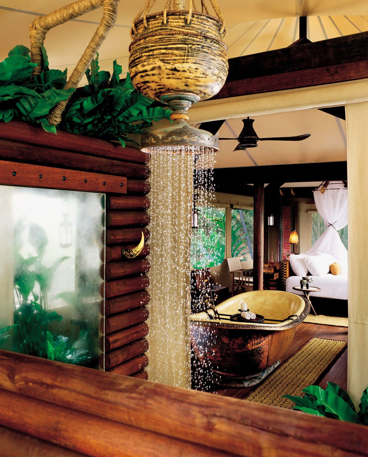 Outdoor Showers And A Tented Tub Ensure That Each Guest Has Options At @Four Seasons Tented Camp
