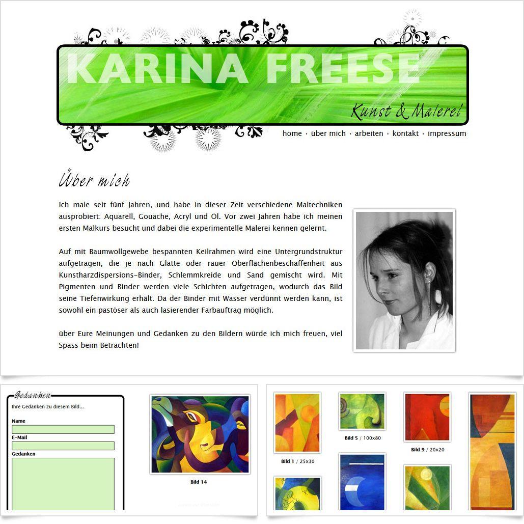 Internetseite Karina Freese / Leistungen: Konzeption, Webdesign, Technische Umsetzung / Techniken: PHP, MySQL, Javascript, XHTML, CSS