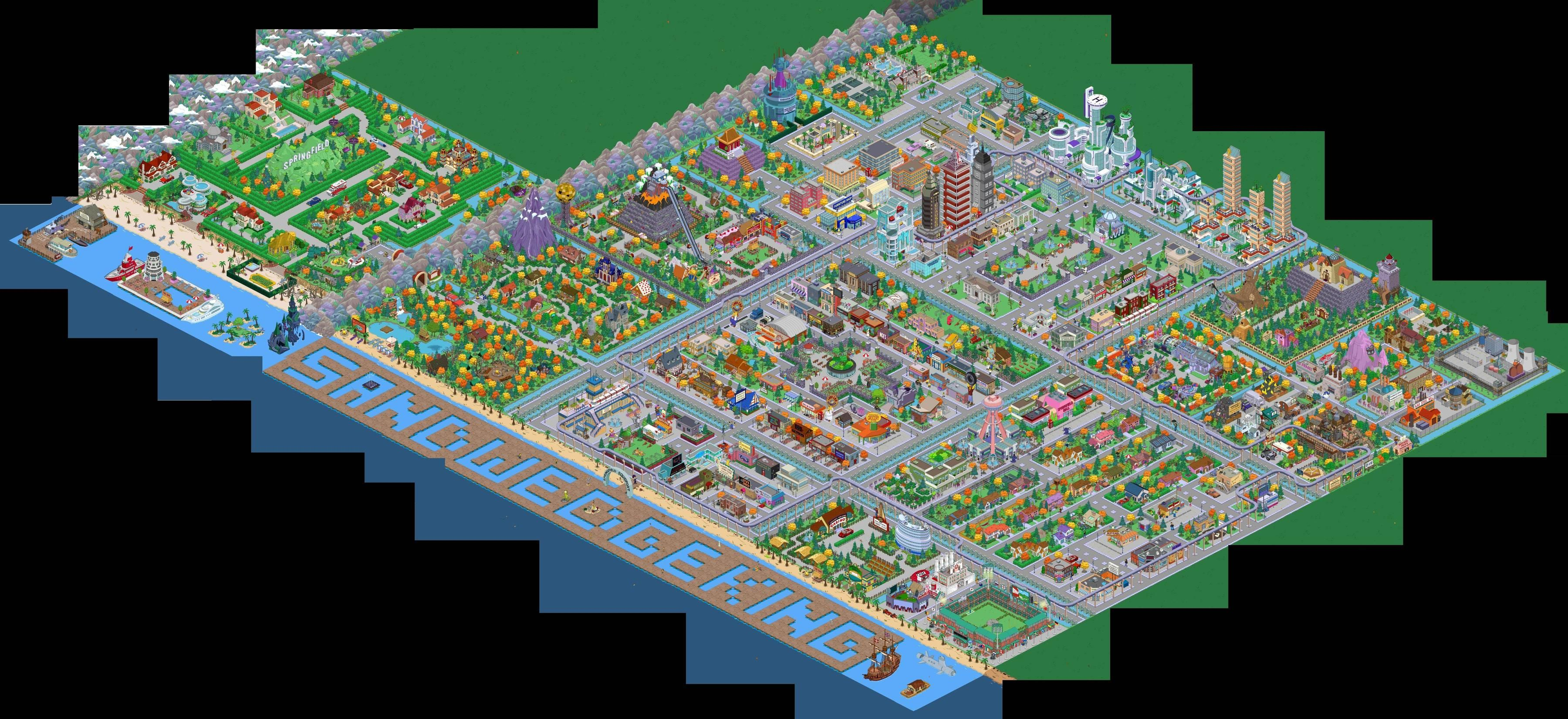 Full Panoramic Town The Simpsons The Simpsons Movie Springfield Tapped Out