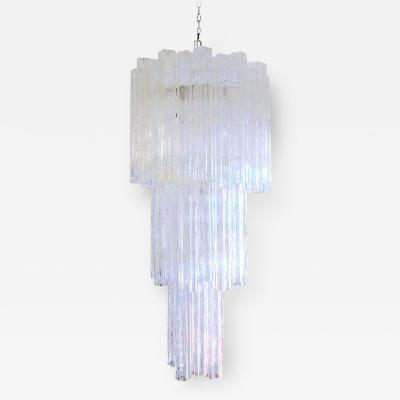 Lights & Venini Long Three Tier Tronchi Murano Glass Chandelier by Venini and ...