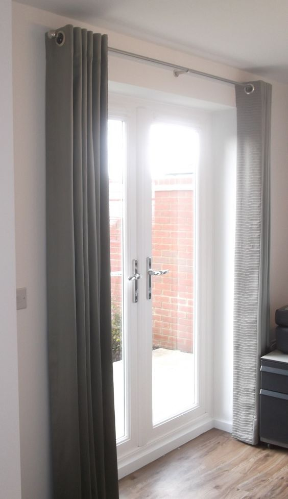 Simple Modern Grey Curtains Over The Doors Bedroom Ideas