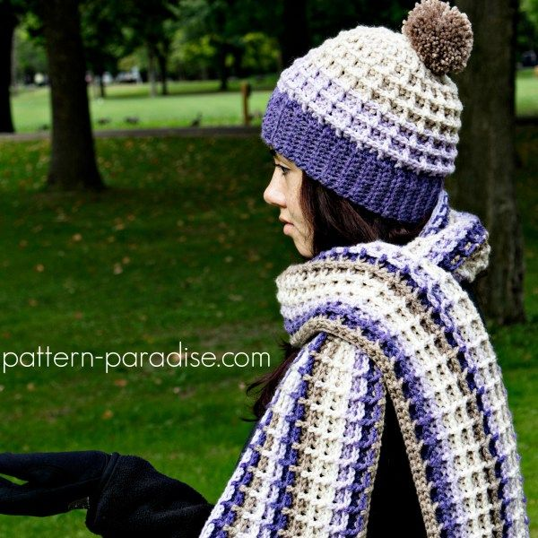 Free crochet pattern for waffle stitch scarf and super scarf ...